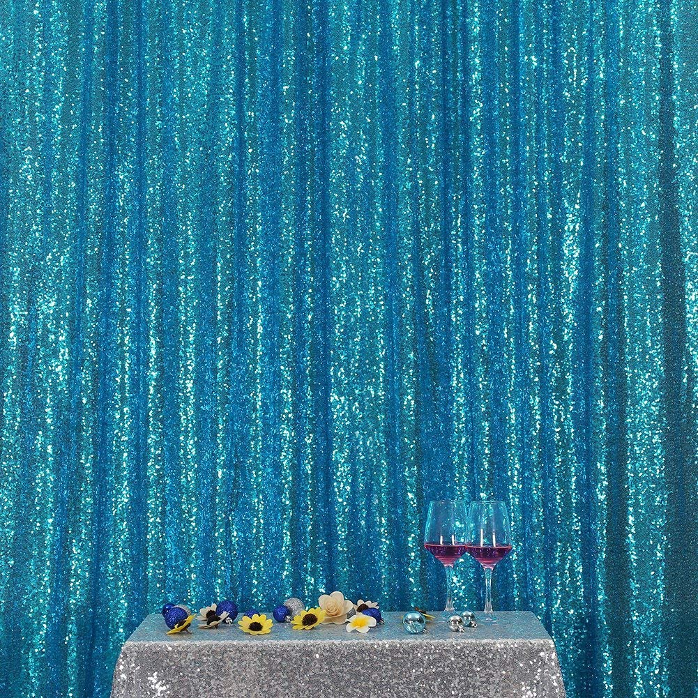 Poise3EHome 20FT x 10FT Sequin Photography Backdrop Curtain for Party Decoration, Turquoise