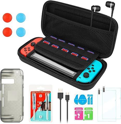 Kit de Accesorios para Nintendo Switch, Funda Portátil AGPtEK y Herramienta para Reparar, Protector de Pantalla de Vidrio Templado, Funda de TPU, Cable Cargador y Audífono con Micrófono: Amazon.es: Videojuegos