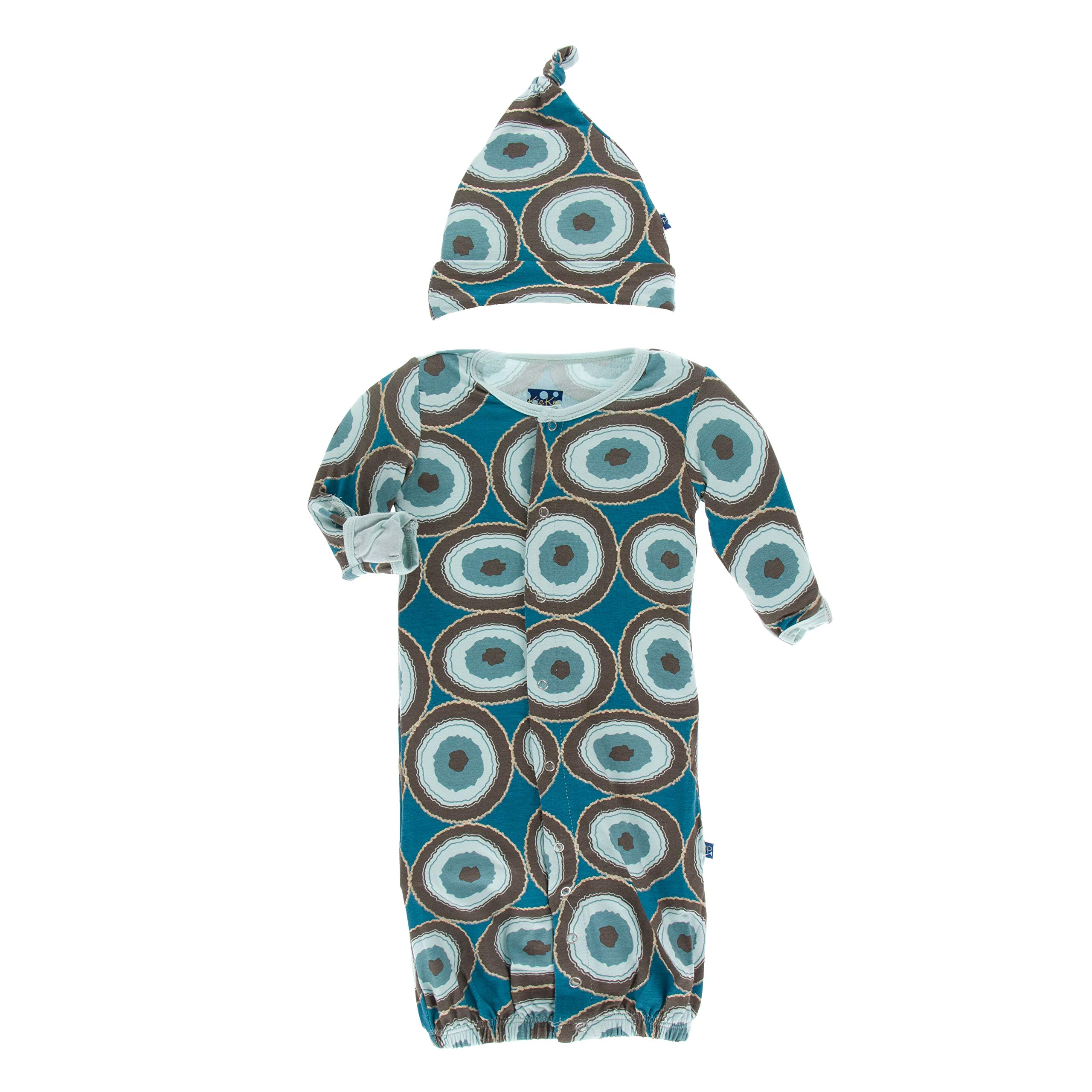 KicKee Pants Print Gown Converter & Knot Hat Set | Geology Collection | (3-6 Months, Heritage Blue Agate Slices) by Kic Kee Pants