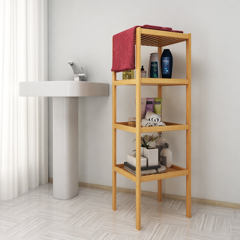 Bamboo Bathroom Shelf, 4-Tier Foldable Multifunctional Storage Rack Shelving Unit for Kitchen Living Room Holder Plant Flower Stand Utility Storage (US Stock)
