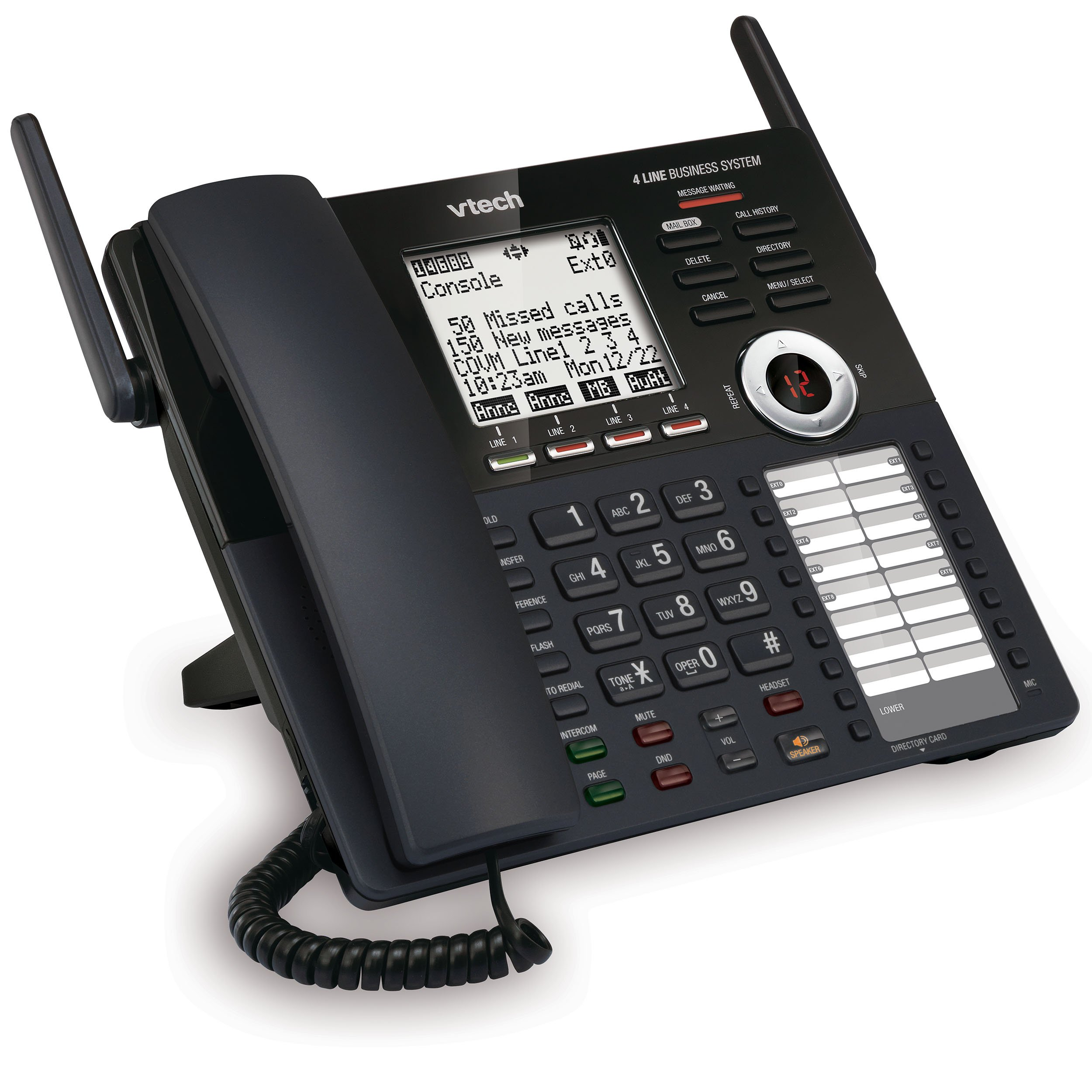 VTech AM18447 Main Console 4-Line Expandable Small Business Office Phone System with Answering Machine, Intercom, Auto Attendant & Music on Hold
