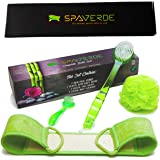 Body Brush For Bath & Shower - Face Brush - Exfoliating Loofah Back Scrubber - Complete Bath Brush and Shower Exfoliation Set from SpaVerde - Beautiful Packaging - Makes a Great GIFT