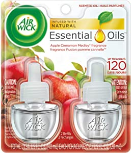 Air Wick plug in Scented Oil 2 Refills, Apple Cinnamon Medley, Holiday scent, Holiday spray, (2x0.67oz), Essential Oils, Air Freshener, Packaging May Vary (6233880420)