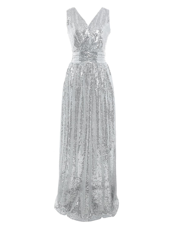 d4587fbdd87 Flapper Girl Women s Sequin Bridesmaid Dress Prom Banquet Evening Formal  Dresses at Amazon Women s Clothing store