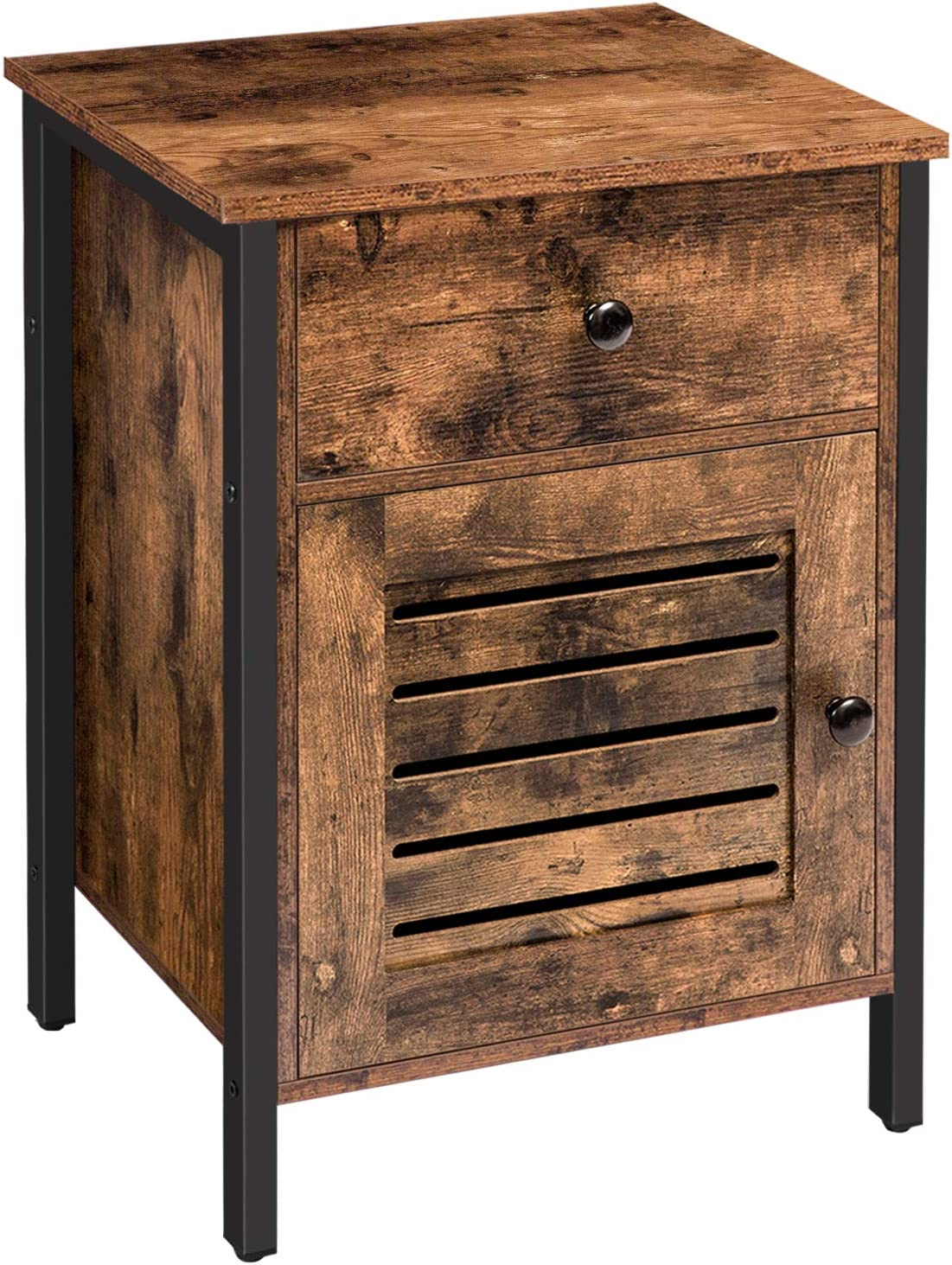 HOOBRO Nightstand, End Table with Storage Cabinet and Drawer, Retro Industrial Bedside Table with Switchable Door, for Home, Bedroom, Metal Frame, Easy Assembly, Rustic Brown BF86BZ01
