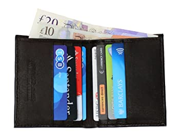 Ras Men S Rfid Safe Soft Genuine Leather Credit Card Banknote Pocket Slimline Wallet Size 10 5cm H X 8 5cm L Black 122