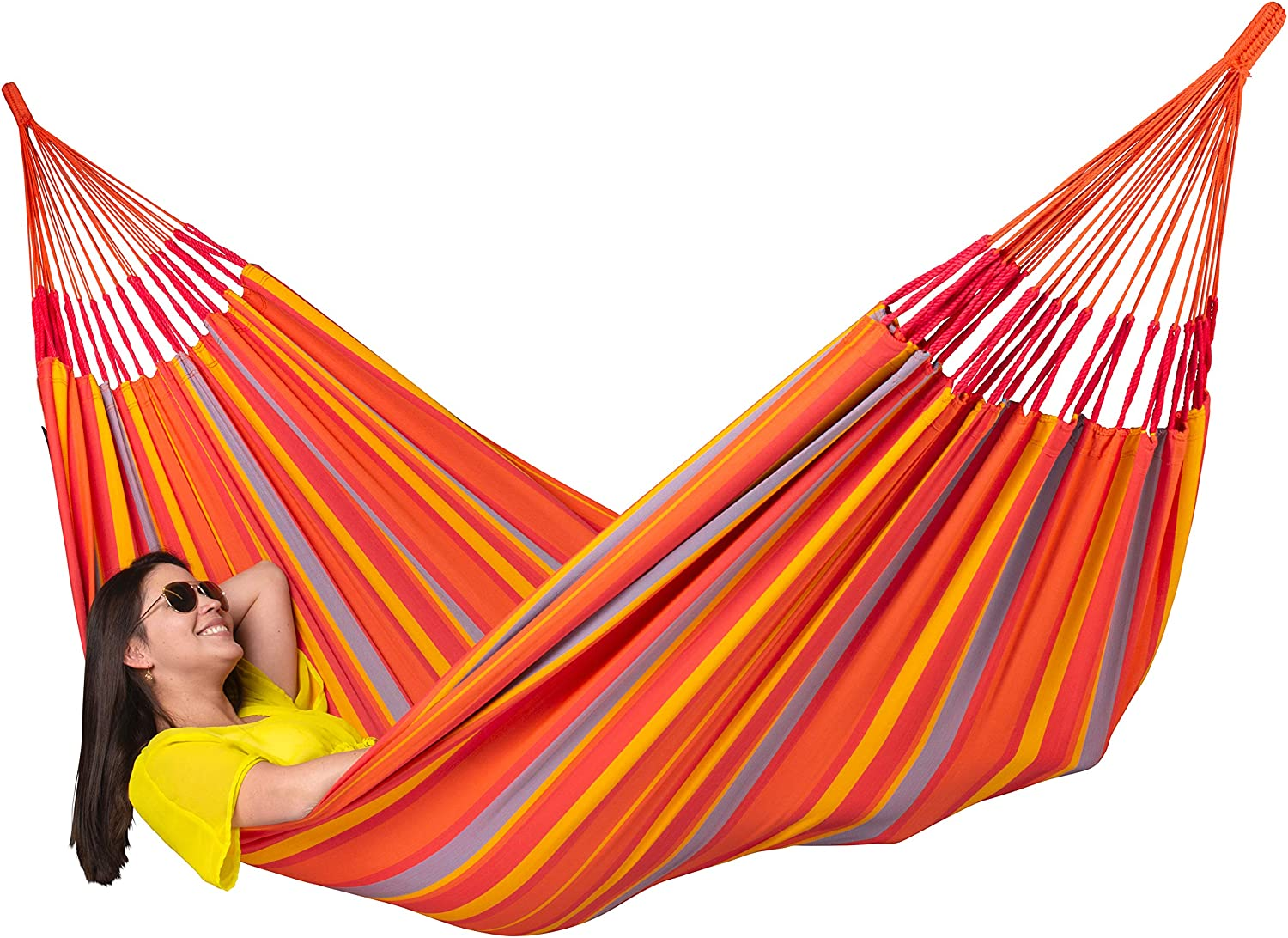 Brisa Almond Weather-Resistant LA SIESTA Outdoor Double Hammock with Sustainable Wood Arc Stand