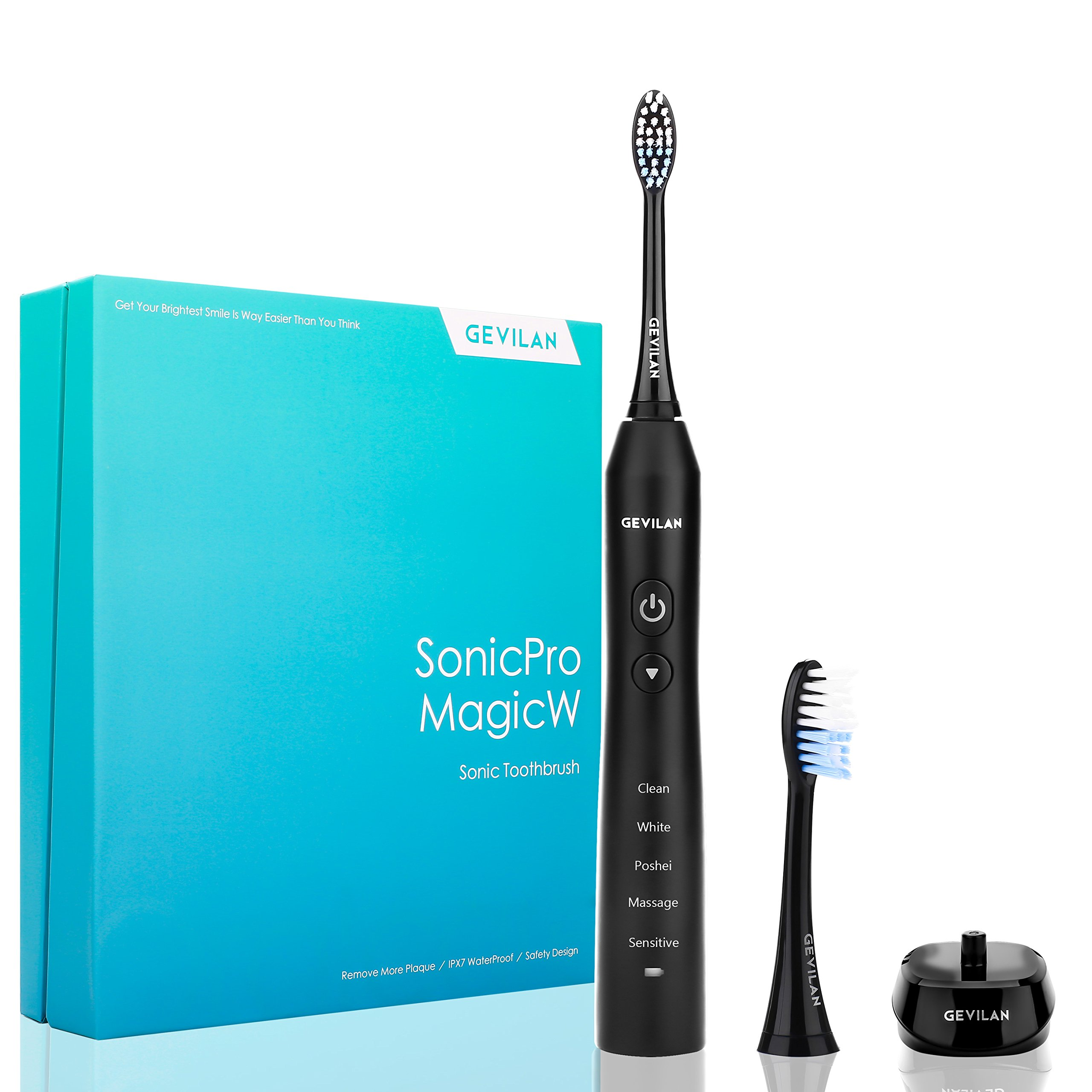 Sonic Pro Electric Toothbrush by Gevilan, 48000 Powerful Vibration with Rechargeable Battery, 5 Modes with Smart Timer, Waterproof and Portable for Daily Oral Care, Home and Travel