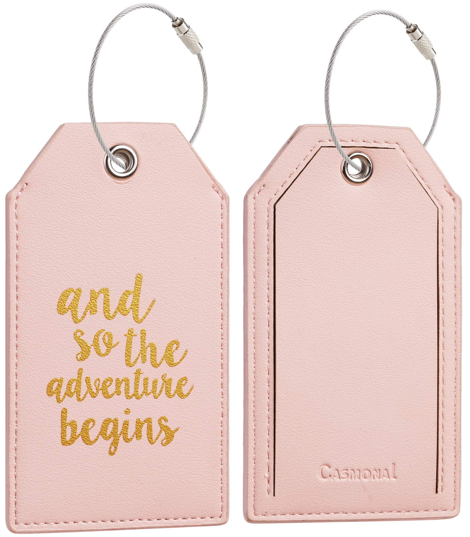 Casmonal Luggage Tags with Full Back Privacy Cover w/Steel Loops (pink 02 pcs set) by Casmonal (Image #3)