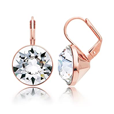 c584a4a257fc4 MYJS Bella Statement Earrings Clear Swarovski Crystal Rose Gold Plated