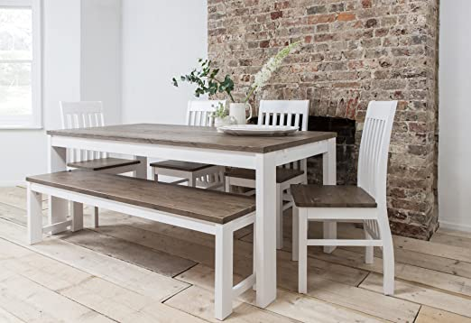 Mesa de Comedor con sillas 5 Hever y Banco en Color Blanco y ...