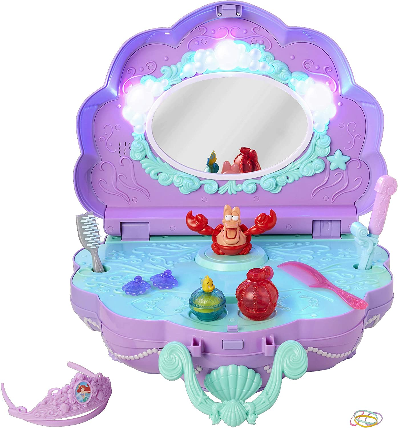 Amazon Com Disney Princess Ariel S Vanity Under The Sea Tabletop Music Light S Vanity For Girls Ages 3 Toys Games