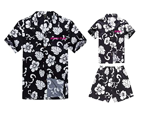 9101c843 Matching Father Son Custom Embroidery Hawaiian Luau Outfit Men Shirt Boy  Shirt Shorts Navy Hibiscus S