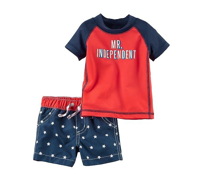 17c09d4c72 Amazon.com: Carter's Baby Boys' Mr. Independent Rashguard Swim Set ...