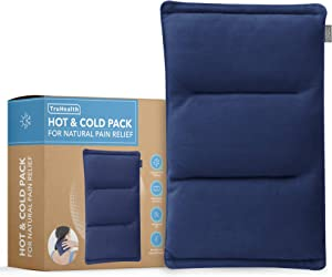 Microwavable Neck Heating Pad | Small Unscented Flaxseed Warm & Cold Compress Natural Therapy | Non Electric Reusable Moist Heat Hot Pack for Joint & Muscle Pain Relief, Cramps, Arthritis & Swelling