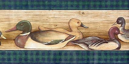 Ducks Lodge Hunting Birds Wallpaper Border Green Plaid Amazon Com