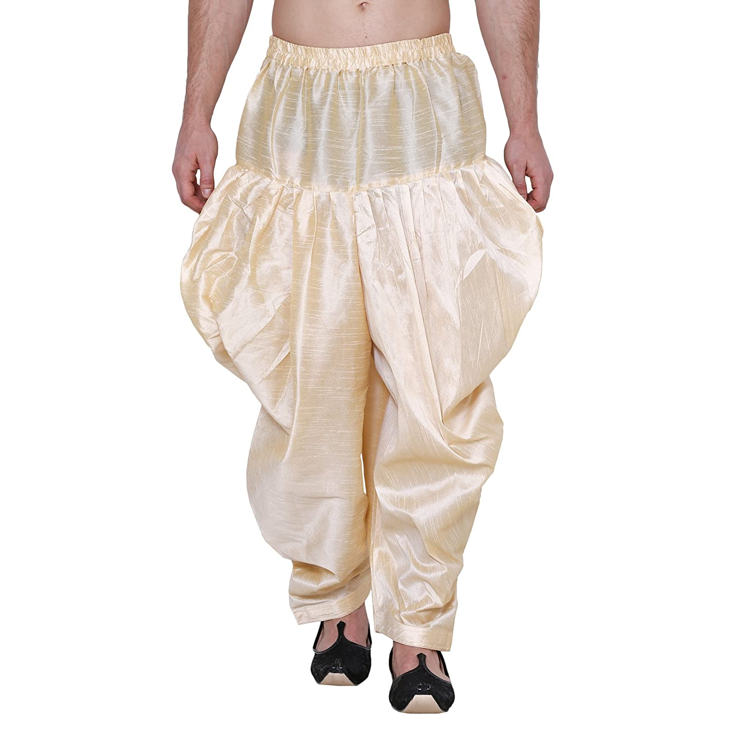 Royal Kurta Men's Silk Blend Patiala Salwar Alladin Pant GOLD-PATIALA-SALWAR-$P