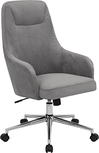 AVE SIX Marigold High Back Desk Chair with Wraparound Arms and Chrome Base, Charcoal Velvet