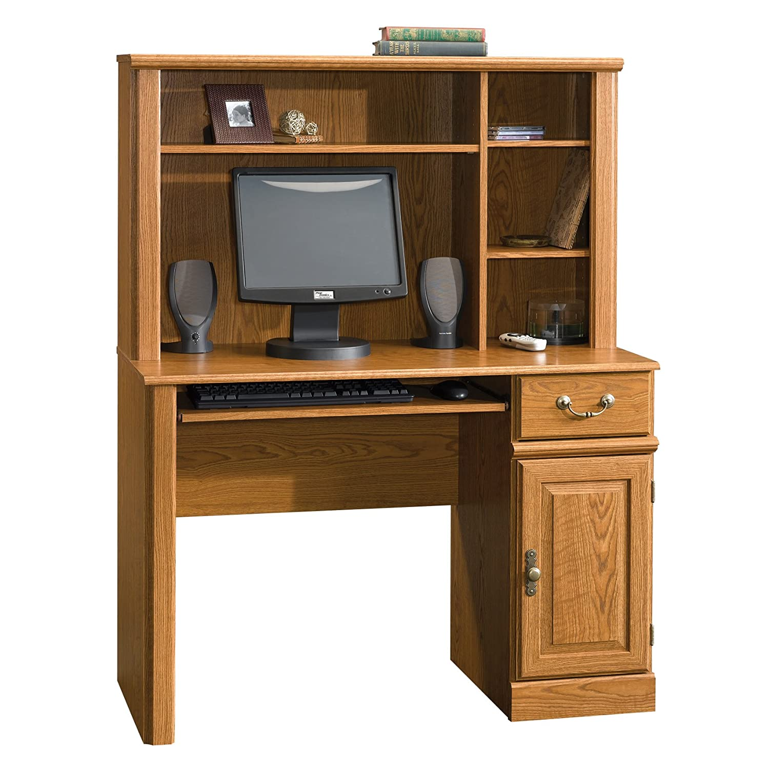 Amazon Sauder Orchard Hills Computer Desk With Hutch Carolina Oak Kitchen Dining