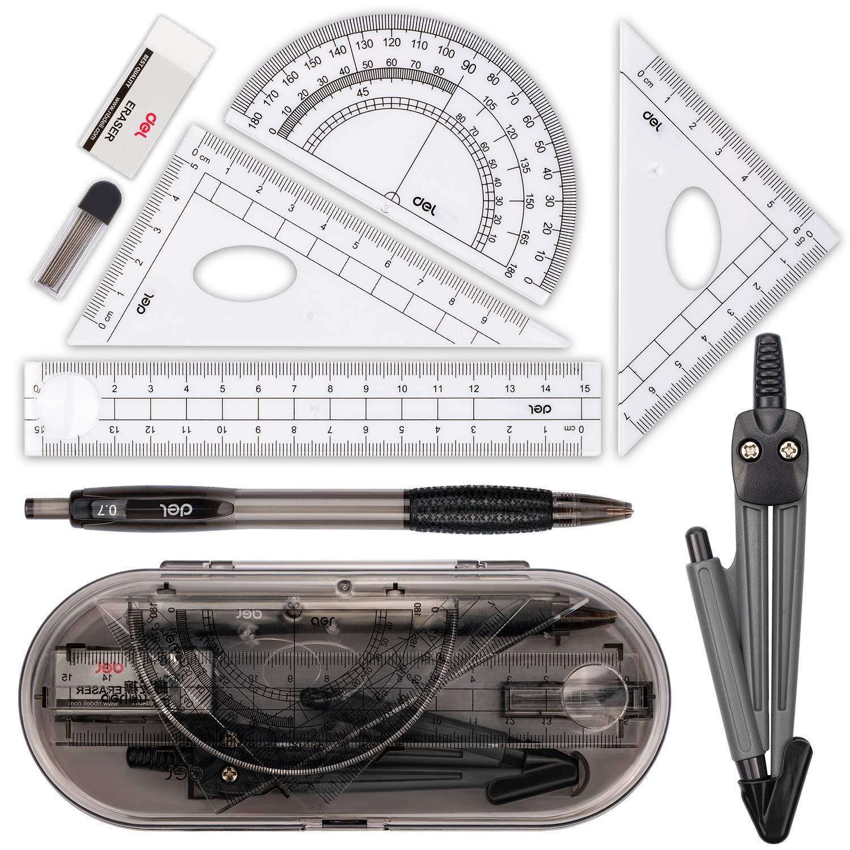 Muscccm Set bussola, Bussola per geometria Math Geometry Kit 8 pezzi - Forniture studente Disegno bussola, goniometro, righelli, ricariche piombo matita, matita, gomma per studenti e disegno tecnico