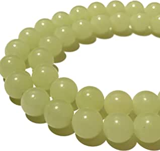 [ABCgems] Glow in Dark Mexican Green Aragonite AKA Cave Calcite (Extremely Rare- Exquisite Color) 10mm Smooth Round Beads for Beading & Jewelry Making