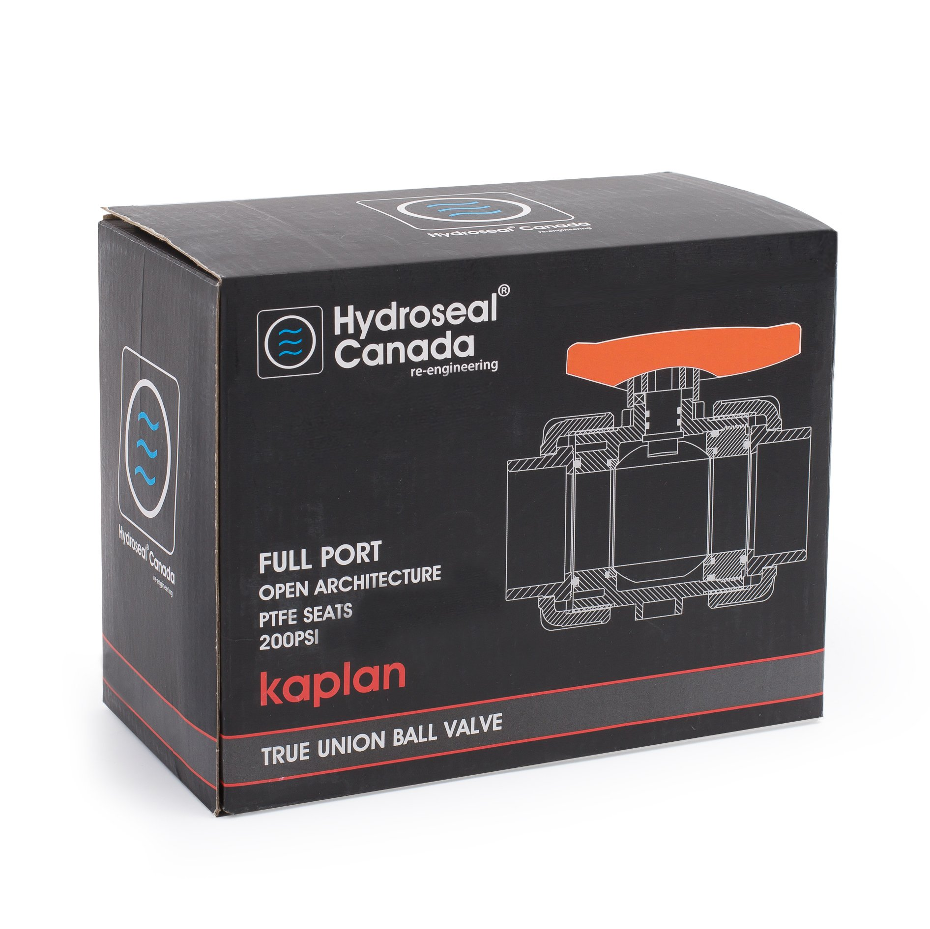 HYDROSEAL Kaplan 3/4'' PVC True Union Ball Valve with Full Port, ASTM F1970, EPDM O-Rings and Reversible PTFE Seats, Rated at 200 PSI @73F, Gray, 3/4 inch Socket (3/4'') by Hydroseal (Image #7)