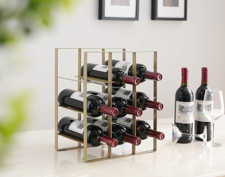 Kings Brand Furniture - Brooke Metal Countertop Wine Rack Bottle Holder, Gold