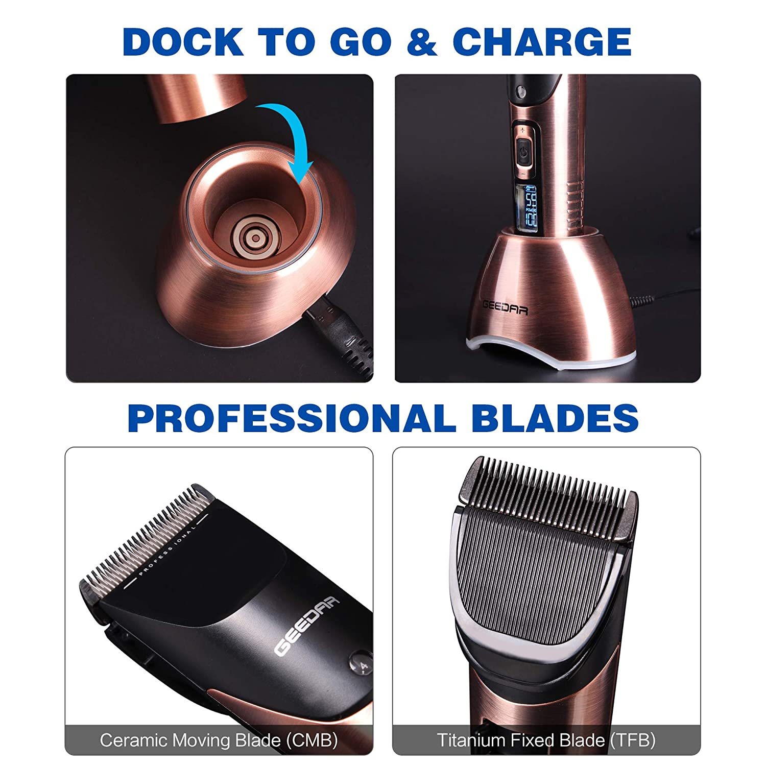 Men's Professional Hair Clippers, Cordless Titanium Ceramic Blade LED Display Hair Clippers