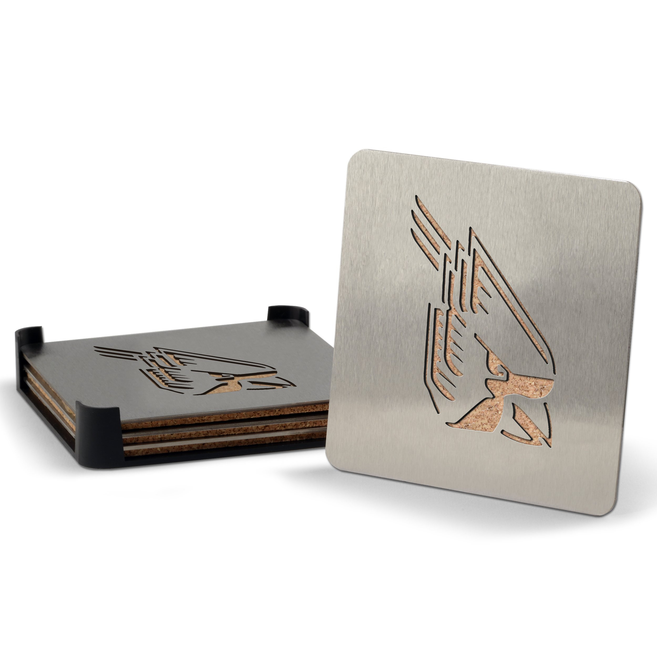 YouTheFan NCAA Ball State Cardinals 4-Piece Stainless Steel Boaster Drink Coaster