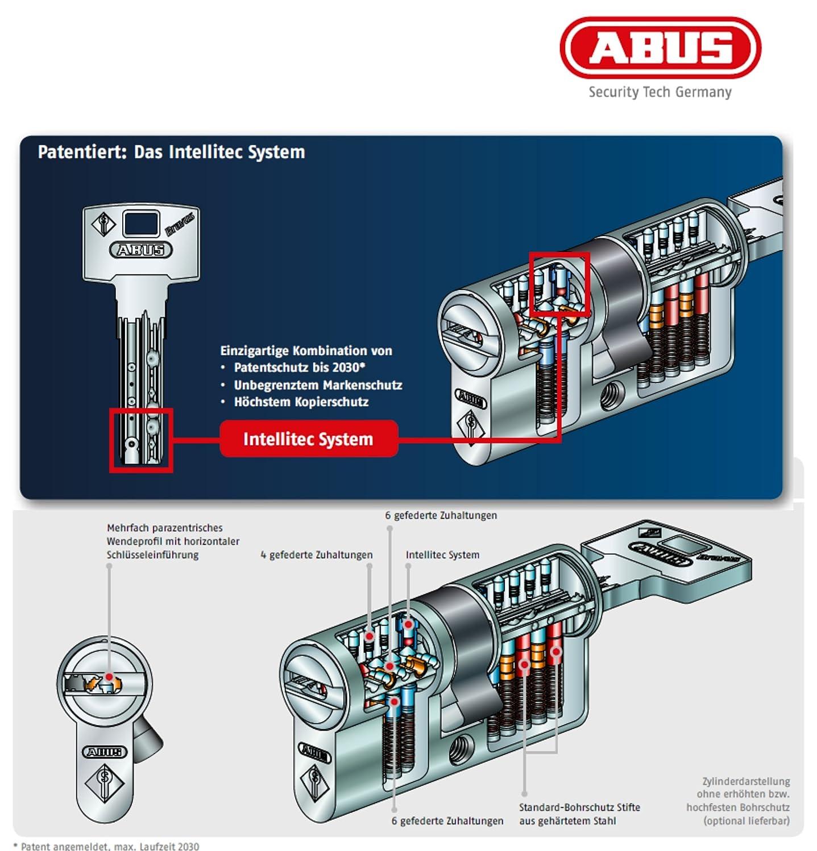 ABUS Bravus.3000 Seguridad - cerradura de Doble cilindro con 3 Llaves, Longitud 30/30mm Con Tarjeta De Seguridad Protección Elevada De Copias, ...