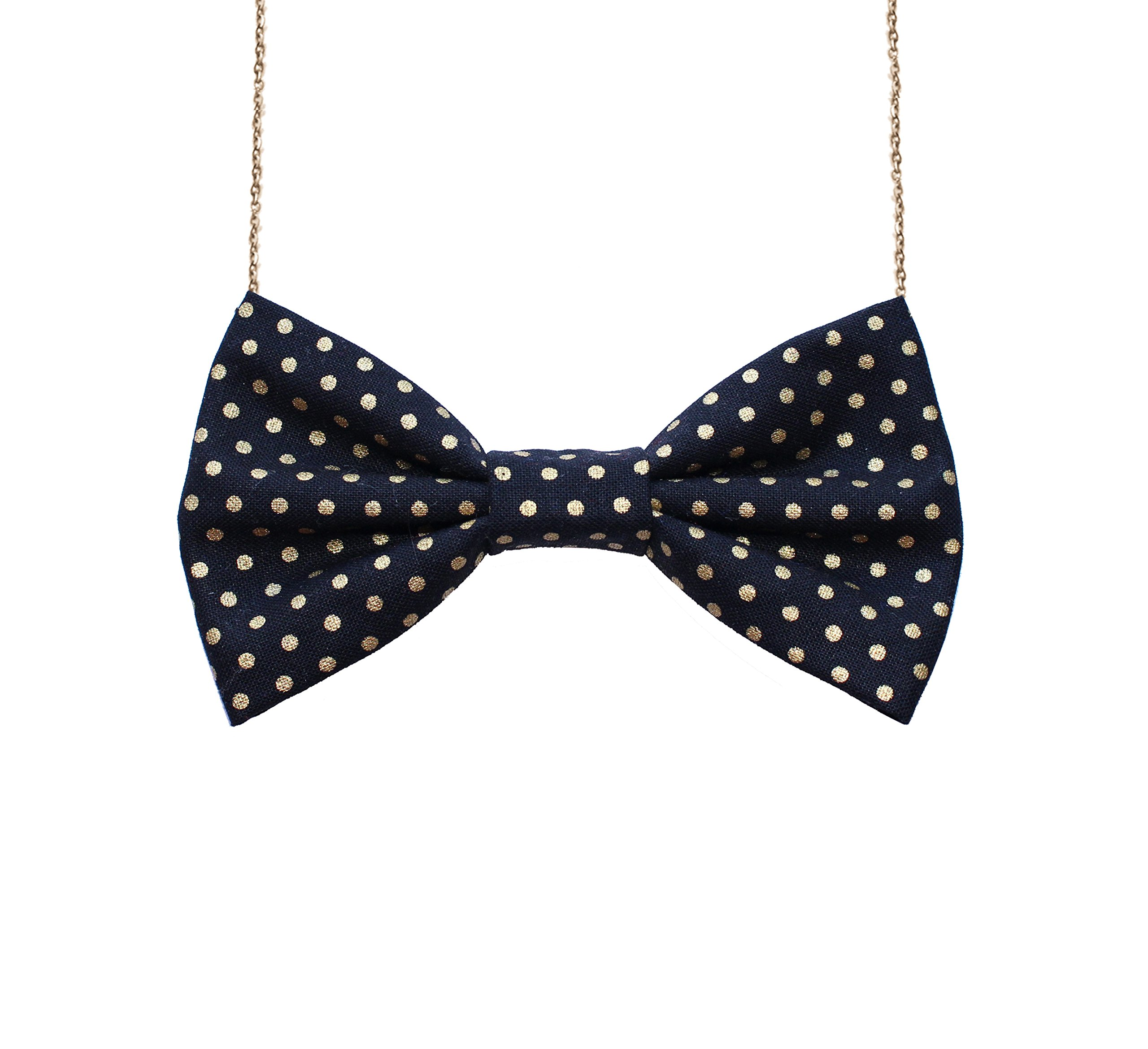 Bow Tie Necklace Classic Black Matte Adjustable Chain 16-20'' Pre-tied Accessory Made in USA Cotton #2 (4.5'' x 2.5'', Black Golden Dot)