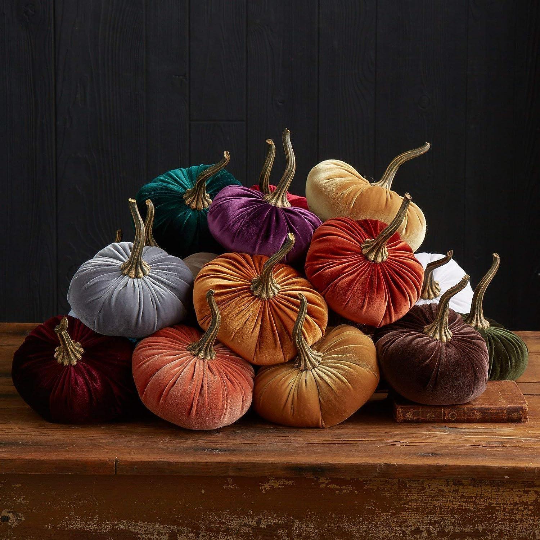 Large Velvet Pumpkin White, Handmade Home Decor, Wedding, Holiday Mantle Decor, Centerpiece, Fall, Halloween, Thanksgiving
