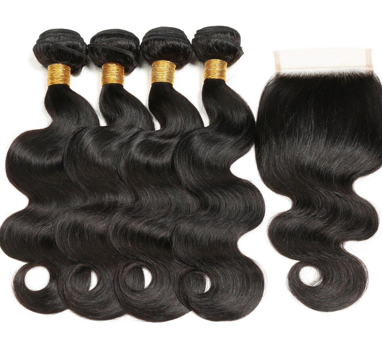 RUIMEISI 8A Brazilian Virgin Hair 4 Bundles with Closure 100% Unprocessed Human Hair Weave With Lace Closure (18 20 22 22+18)