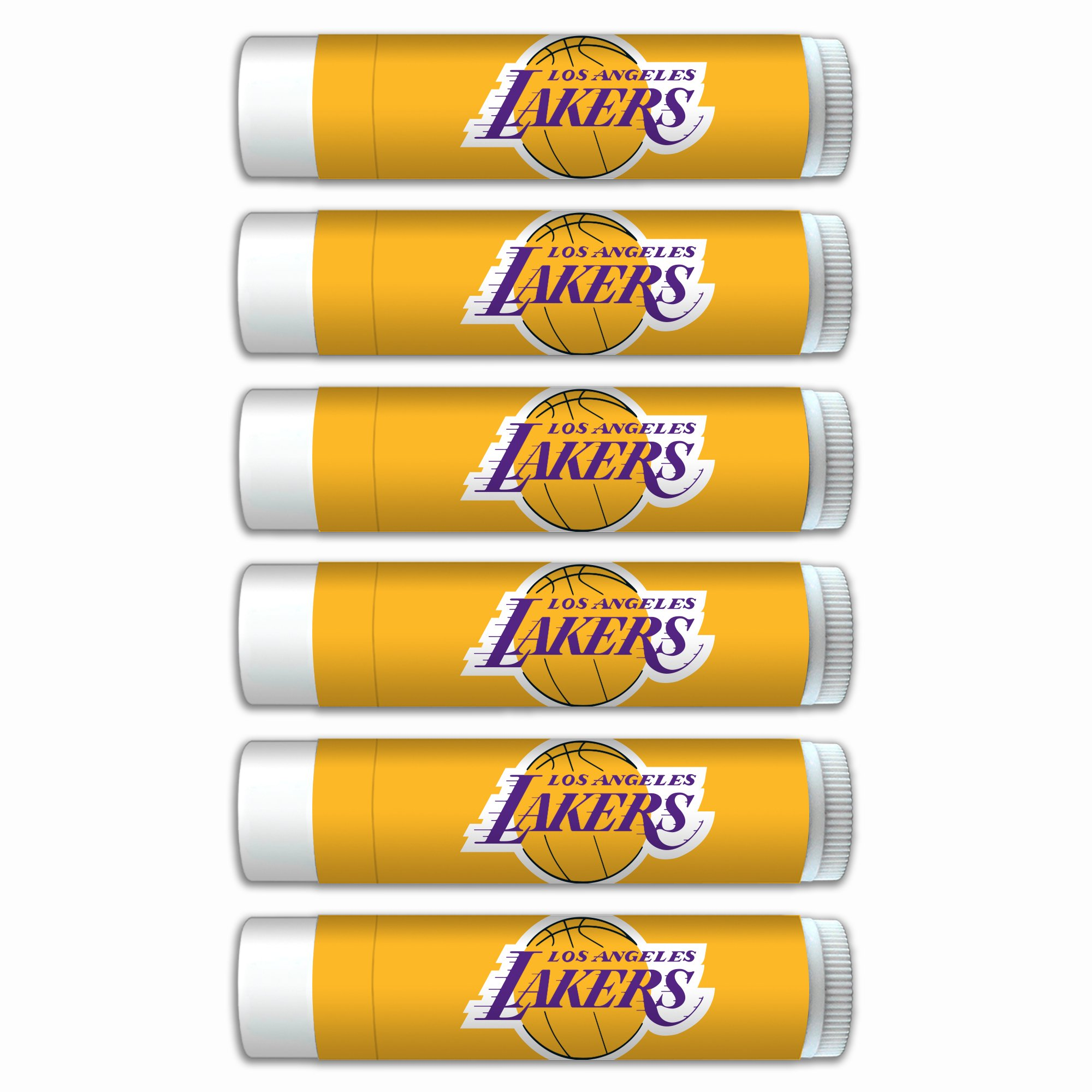 $2.00 OFF LA Lakers Smooth Mint Lip Balm 6-Pack with SPF 15, Beeswax, Coconut Oil, Aloe Vera. NBA Basketball Gifts for Men and Women, Mother's Day, Fathers Day, Easter, Stocking Stuffers