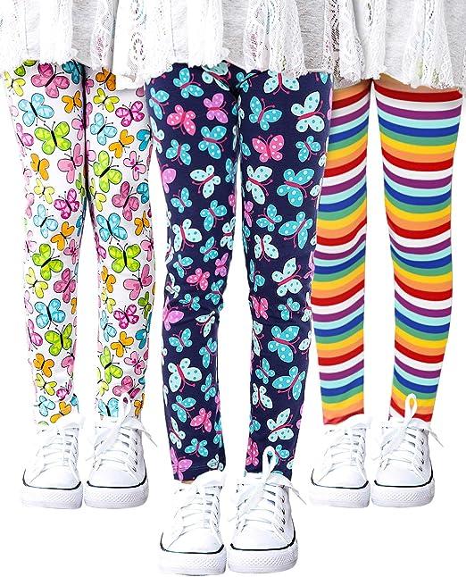 Girls Toddler Leggings Pants 3 Pack Stretchy Printing Flower Classic Leggings for Kids 4-13 Years