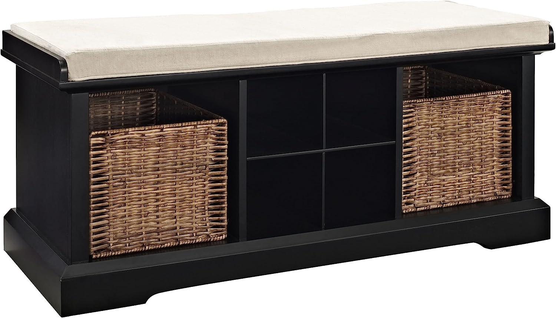 Crosley Furniture Brennan Entryway Storage Bench with Wicker Baskets and Cushion, Black