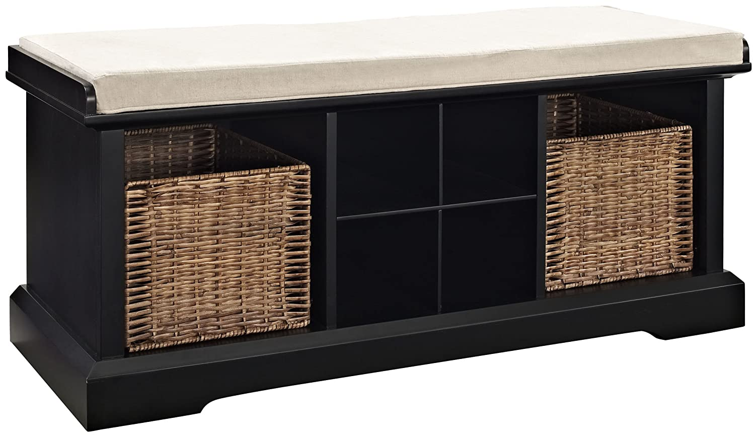Amazon com crosley furniture brennan entryway storage bench with wicker baskets and cushion black kitchen dining