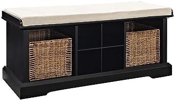 Crosley Furniture Brennan Entryway Storage Bench With Wicker Baskets And  Cushion   Black