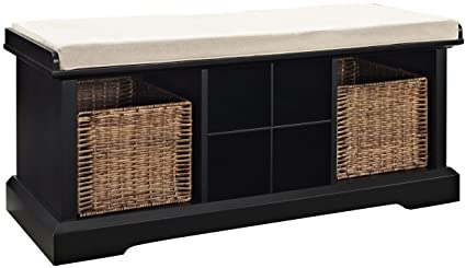 Crosley Furniture Brennan Entryway Storage Bench With Wicker Baskets And  Cushion   Black