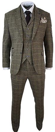 Cavani Herrenanzug 3 Teilig Braun Klassisch Tweed Fischgrate Kariert