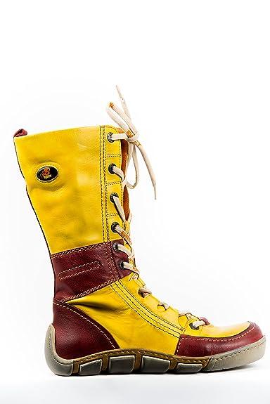 Eject Schuhe Stiefel Gelb Boots Rot Stiefelette Damen roBexdC