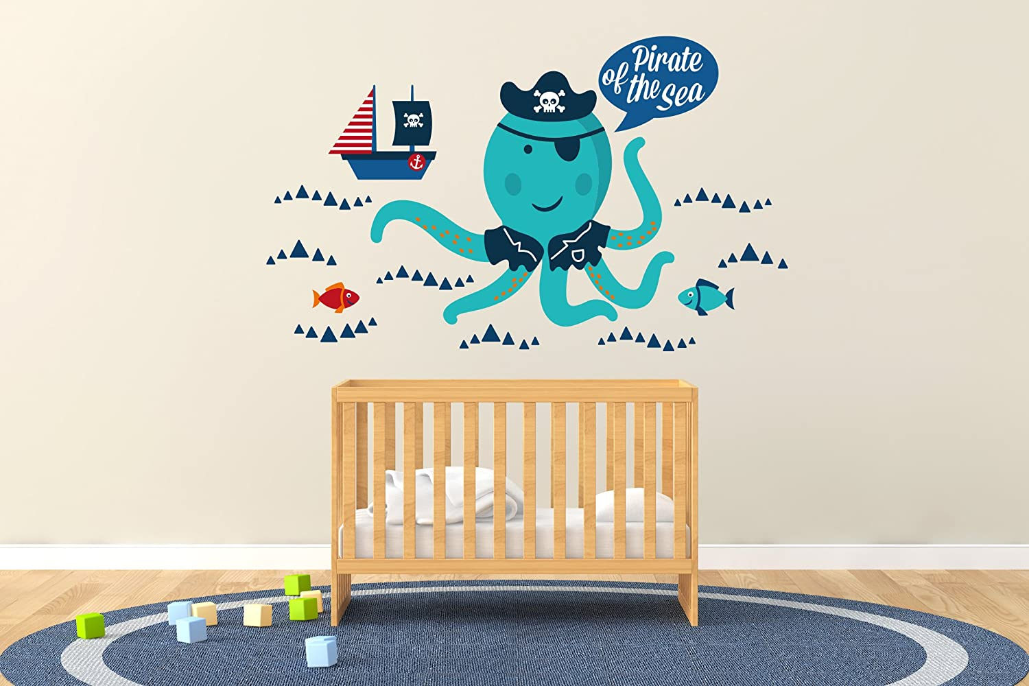 e-graphicデザインInc Pirate of the Sea 24\ Baby – Baby Boy Wide – 保育園壁デカールfor Baby Rom Decorations – 壁画壁デカールステッカー用ホーム子供の寝室(r102 ) Wide 24