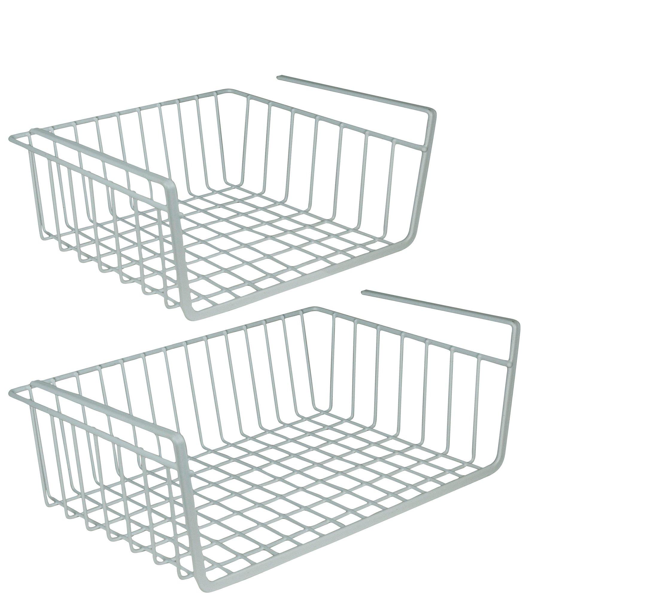 DecorRack Set of 2 Under Shelf Basket, Undershelf Wire Rack Storage Organizer with Hooks for Kitchen Pantry Cabinet Closet, Hanging Undershelf Basket Storage Rack, White (Set of 2)