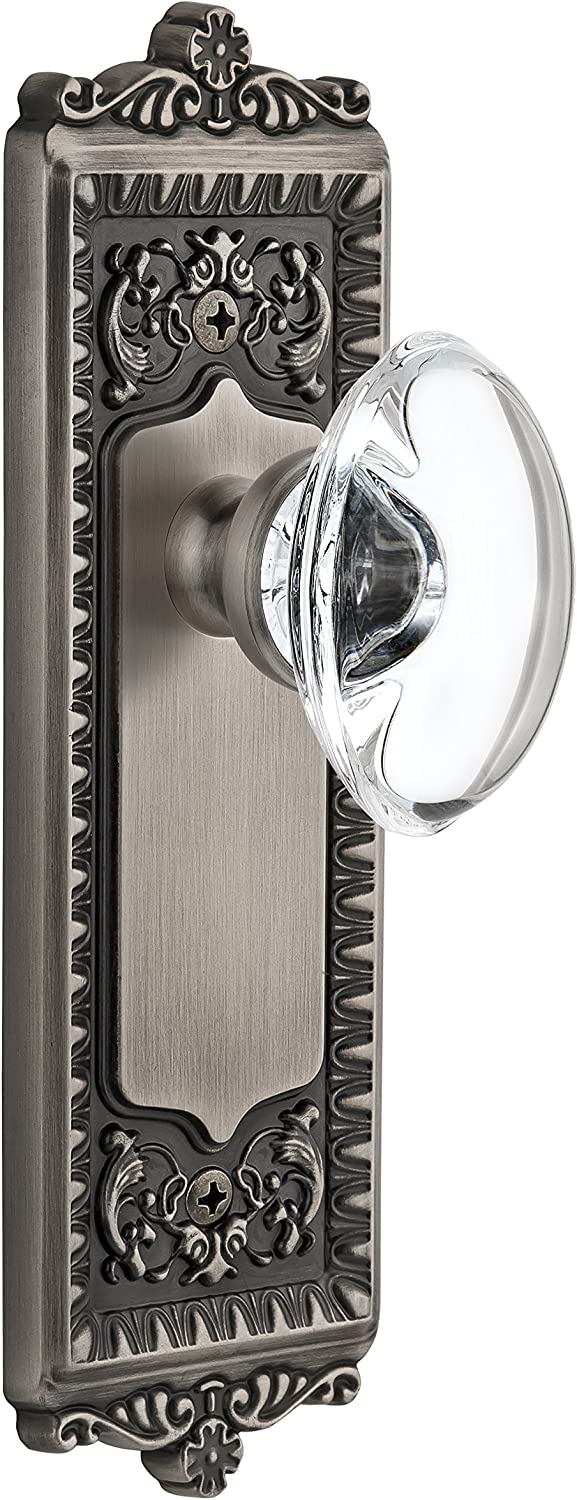 Grandeur Windsor Plate with Provence Crystal Knob, Double Dummy, Antique Pewter