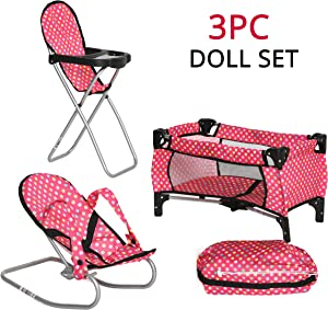 Exquisite Buggy Fash N Kolor Baby Doll Accessories - Includes Pack N Play Doll Crib, Doll Baby Bouncer, Doll High Chair with Storage Bag 18 inch Doll Accessories for 3 Year Old Girls and Up