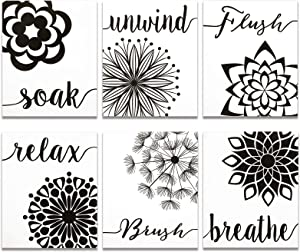 6 Pieces Relax Soak Unwind Breathe Wall Decor Bathroom Flowers Art Print, Farmhouse Wall Sign Relaxing Sayings Decoration for Bathroom Spa, 8 x 10 Inch (Black and White)