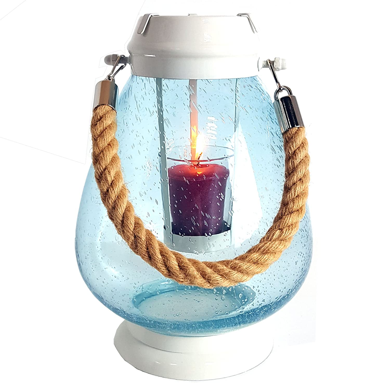 Portacandela originale Yankee Candle, grande, in vetro, stile marinaro, per candela votiva, lanterna con corda My Planet