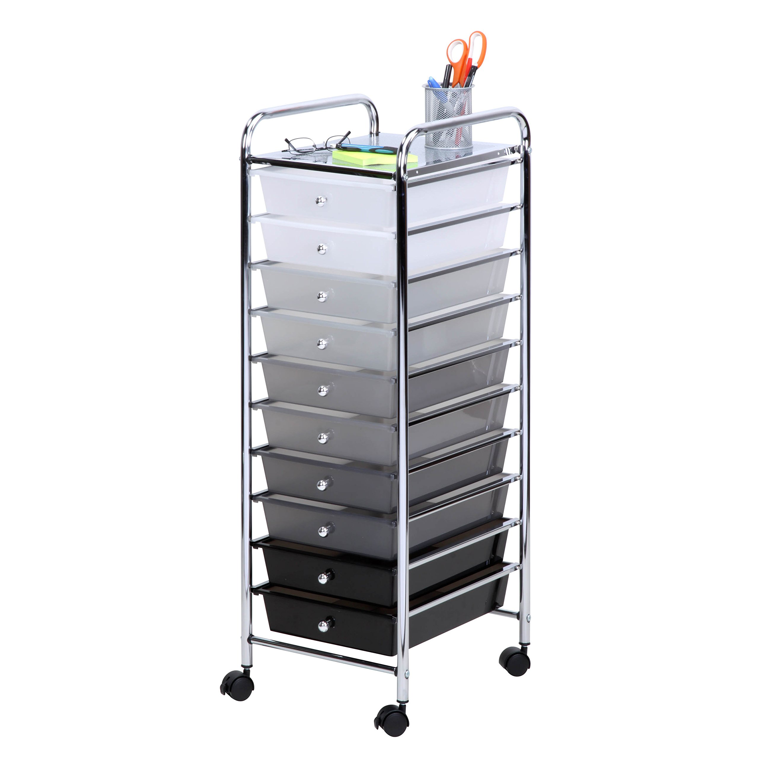 Honey-Can-Do CRT-05255 10 Drawer Shaded Storage cart, 37.8 in L x 15.94 in W x 6.5 in H (96 cm L x 40.5 cm W x 16.5 cm H), Multicolor/Gray/Black/White