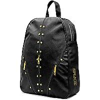 VIVARS Studded Casual Fashion Leather Shoulder Bag Backpack for Women Chest Bag Pack (Black)