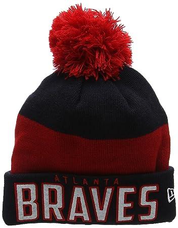 23bb1fcaab1 New Era Unisex-Adults  Atlanta Braves Word Block Bobble Knit Beanie ...